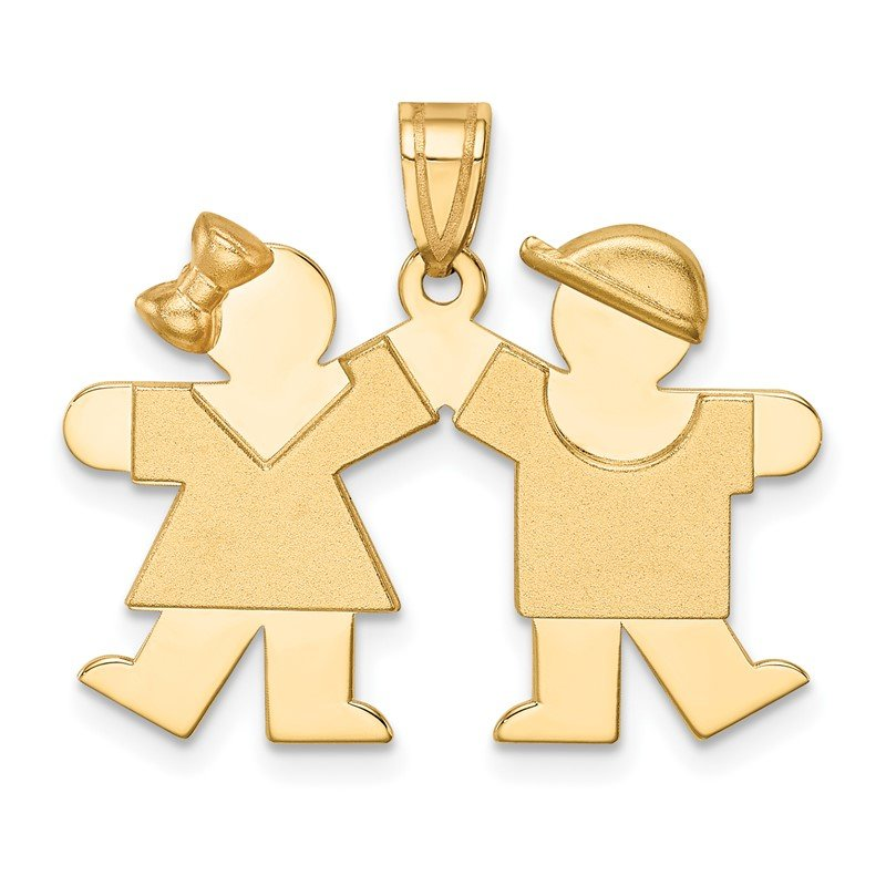 Quality Gold 14k Solid Engravable Small Girl on Left and Boy on Right Charm