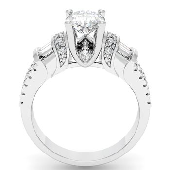 Unique Round, Princess & Baguette Diamond Engagement ring