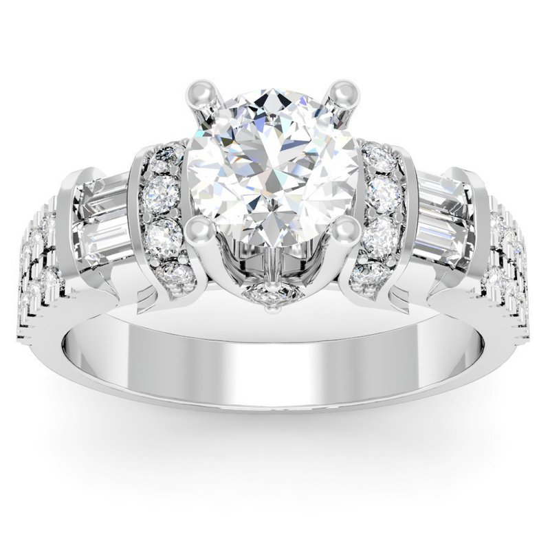 California Coast Designs Unique Round, Princess & Baguette Diamond Engagement ring
