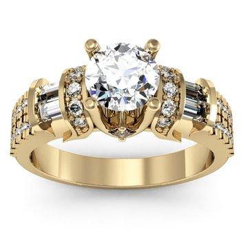 Unique Round, Princess & Baguette Diamond Engagement ring