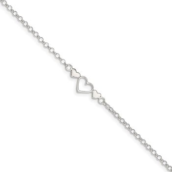 Sterling Silver 9inch Plus 1 in ext. Polished Triple Heart Anklet