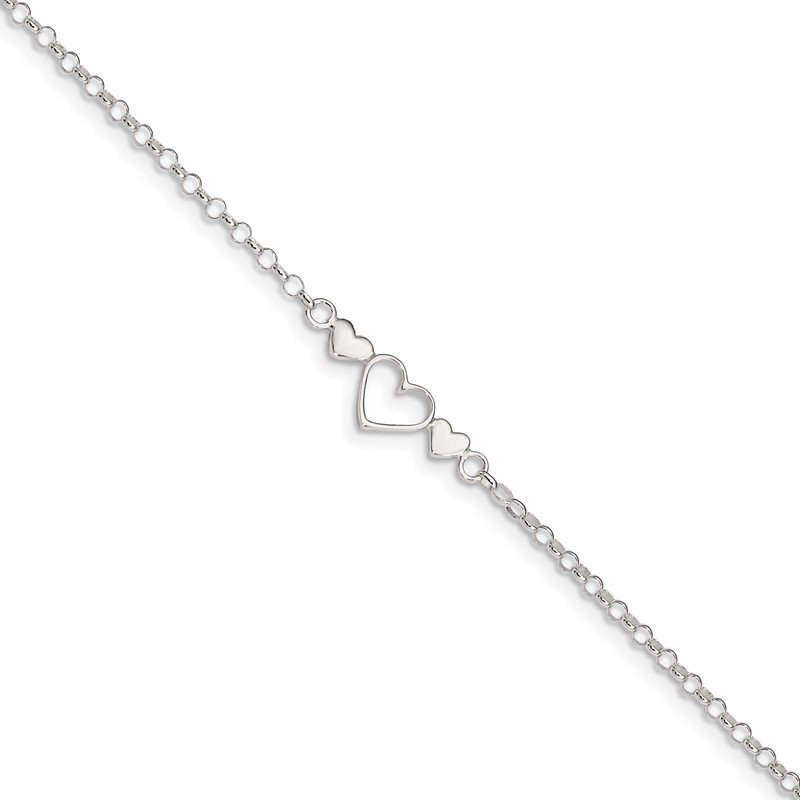 Quality Gold Sterling Silver 9inch Plus 1 in ext. Polished Triple Heart Anklet