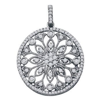 10kt White Gold Womens Round Diamond Antique-style Circle Pendant 1/2 Cttw