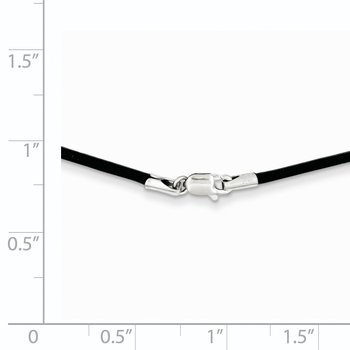14k White Gold 1.5mm 16in Black Leather Cord Necklace