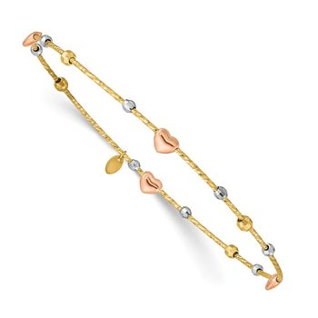 14k Tri-color Heart Diamond-cut Slip-on Bangle