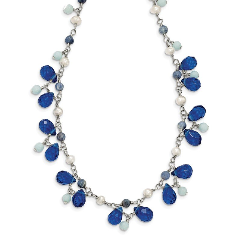 Quality Gold Sterling Silver Blue Crystal/Lapis/Amazonite/FW Cultured Pearl Neck