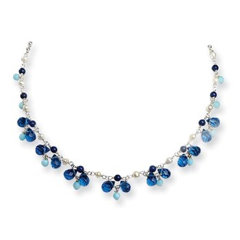 Sterling Silver Blue Crystal/Lapis/Amazonite/FW Cultured Pearl Neck