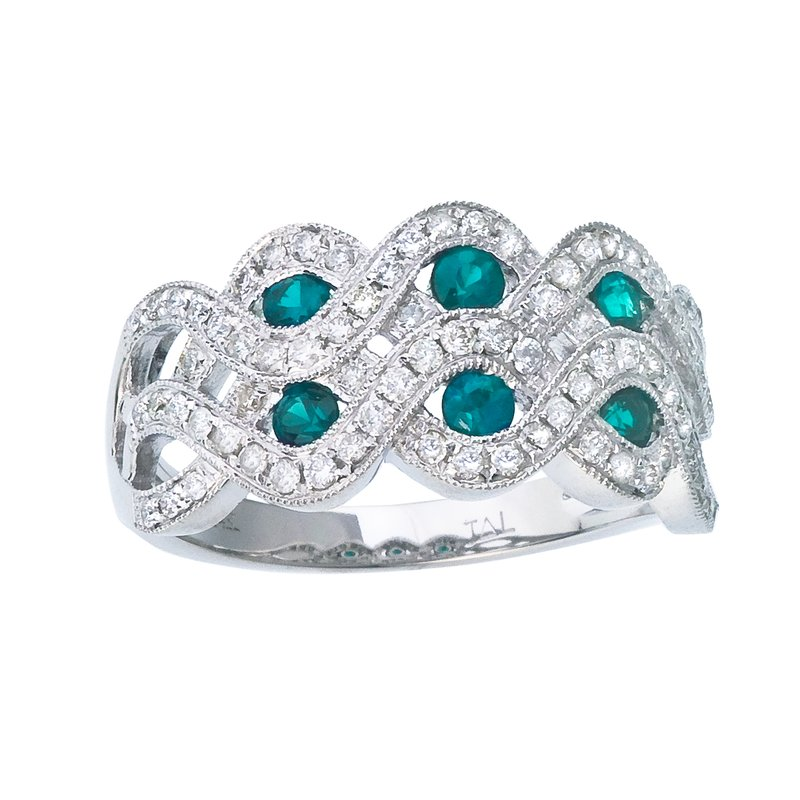 Color Merchants 14k White Gold 2 Row Emerald and Diamond Ring