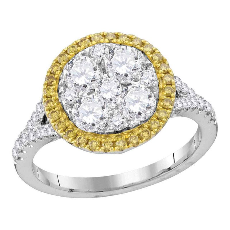Gold-N-Diamonds, Inc. (Atlanta) 18kt White Gold Womens Round Yellow Diamond Cluster Bridal Wedding Engagement Ring 1-5/8 Cttw