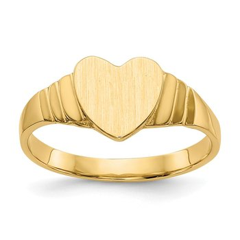 14K Satin Baby Heart Signet Ring
