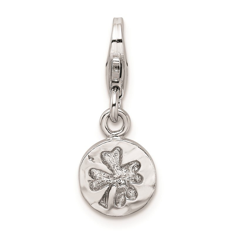 Quality Gold SS RH Hammered Four Leaf Clover Lobster Clasp Charm