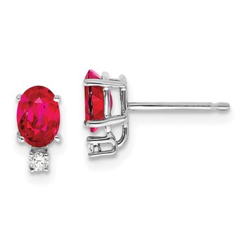 14k White Gold 6x4mm Oval Ruby AA Diamond Earrings