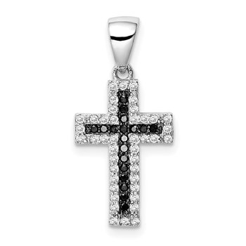 Sterling Silver Rhodium-plated Black and Clear CZ Cross Pendant