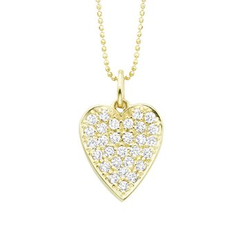 Diamond Heart Necklace in 14K Yellow Gold with 29 diamonds weighing .87ct tw