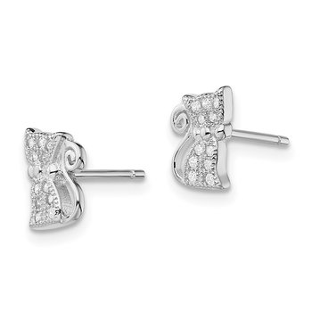 Sterling Silver Rhodium-plated CZ Cat Post Earrings