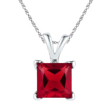 Sterling Silver Womens Princess Lab-Created Ruby Solitaire Pendant 1-1/3 Cttw