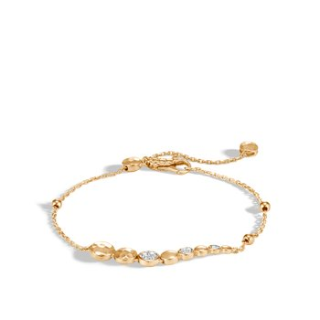 Dot Pull Through Bracelet in Hammered 18K Gold with Diamonds