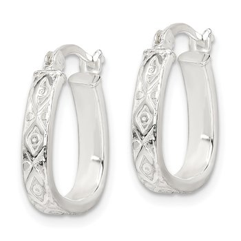 Sterling Silver Patterned 3mm Hoop Earrings