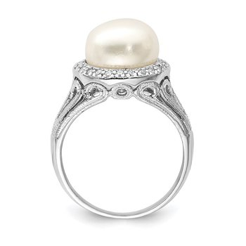 Sterling Silver Rhodium-plated 10-11mm White FWC Pearl and CZ Ring