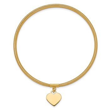 14K Heart Stretch Mesh Bracelet