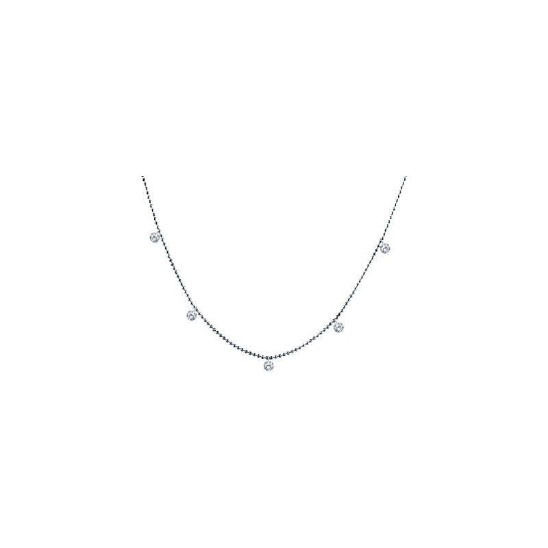 "14K White Gold .50 Five-Stone Diamond Necklace with 18"" Chain"