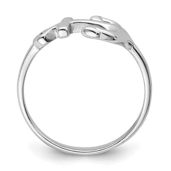 Sterling Silver Rhodium-plated Polished Anchor Ring
