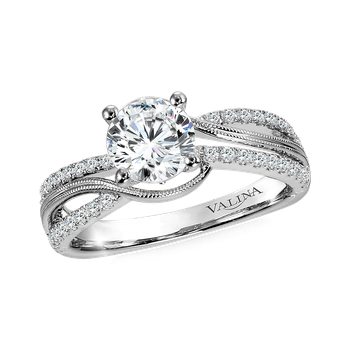 Diamond Split Shank Engagement Ring Mounting with side stones in 14K White (.27 ct. tw.)