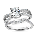 Valina Diamond Split Shank Engagement Ring Mounting with side stones in 14K White (.27 ct. tw.)