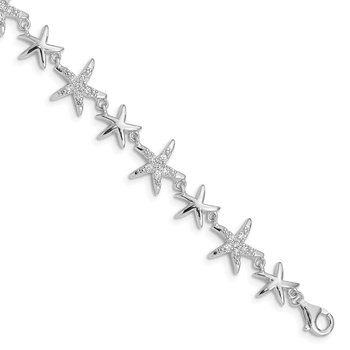 Sterling Silver Rhodium-plated CZ Starfish Bracelet