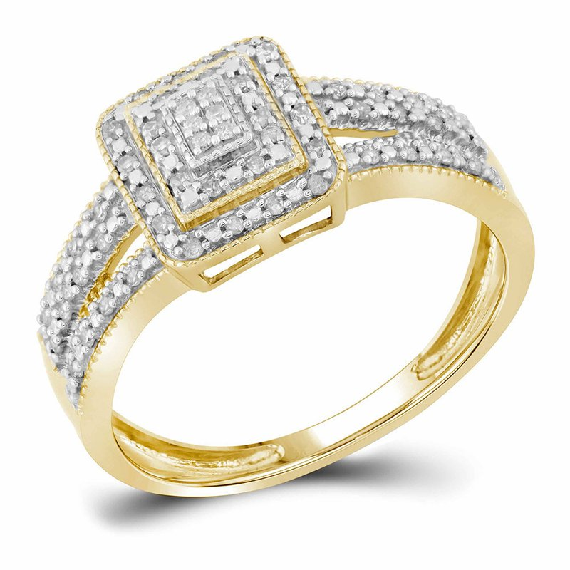 Kingdom Treasures 10kt Yellow Gold Womens Round Diamond Square Cluster Bridal Wedding Engagement Ring 1/6 Cttw