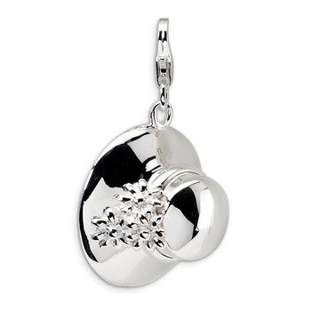 Sterling Silver Amore La Vita Rhodium-pl Polished 3-D Enameled Hat Charm