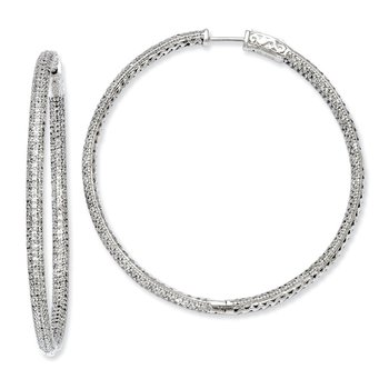 Sterling Silver Rhodium-plated 706 stones CZ Hinged Hoop Earrings