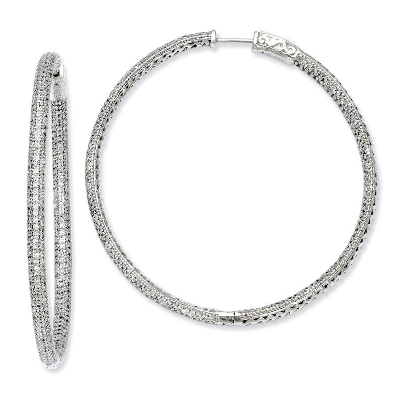 Quality Gold Sterling Silver Rhodium-plated 706 stones CZ Hinged Hoop Earrings