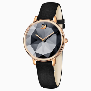 Crystal Lake Watch, Leather strap, Black, Rose-gold tone PVD