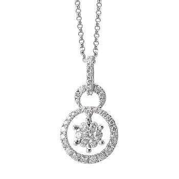 14kt Diamond Double Circle Pendant