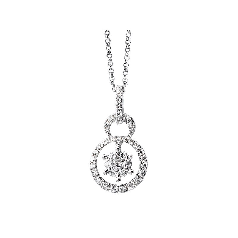 Tesoro 14kt Diamond Double Circle Pendant
