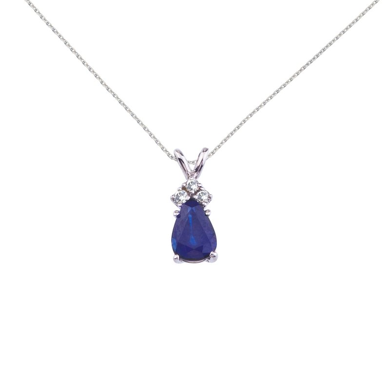 Color Merchants 14K White Gold Pear Shaped Sapphire and .05 ct Diamond Pendant