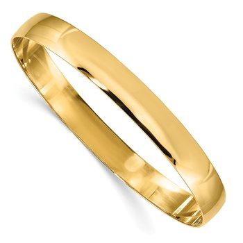 14k 8mm Solid Polished Half-Round Slip-On Bangle