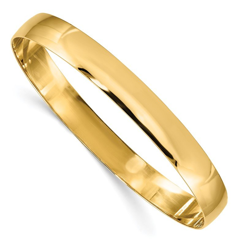 Quality Gold 14k 8mm Solid Polished Half-Round Slip-On Bangle