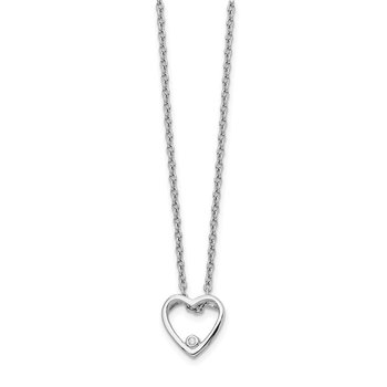 SS White Ice Diamond Heart Necklace