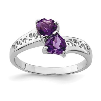 Sterling Silver Rhodium Amethyst Heart Ring