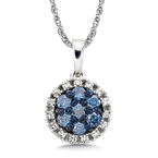 SDC Creations Pave set Blue and White Diamond Halo Pendant, 14k White Gold  (1/3 ct. tw.)