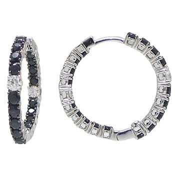 18KT GOLD HOOPS WITH BLACK SAPPHIRES AND WHITE DIAMONDS