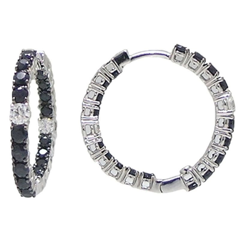 Roberto Coin 18KT GOLD HOOPS WITH BLACK SAPPHIRES AND WHITE DIAMONDS