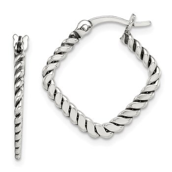 Sterling Silver Antiqued Twisted Square Hoop Earrings