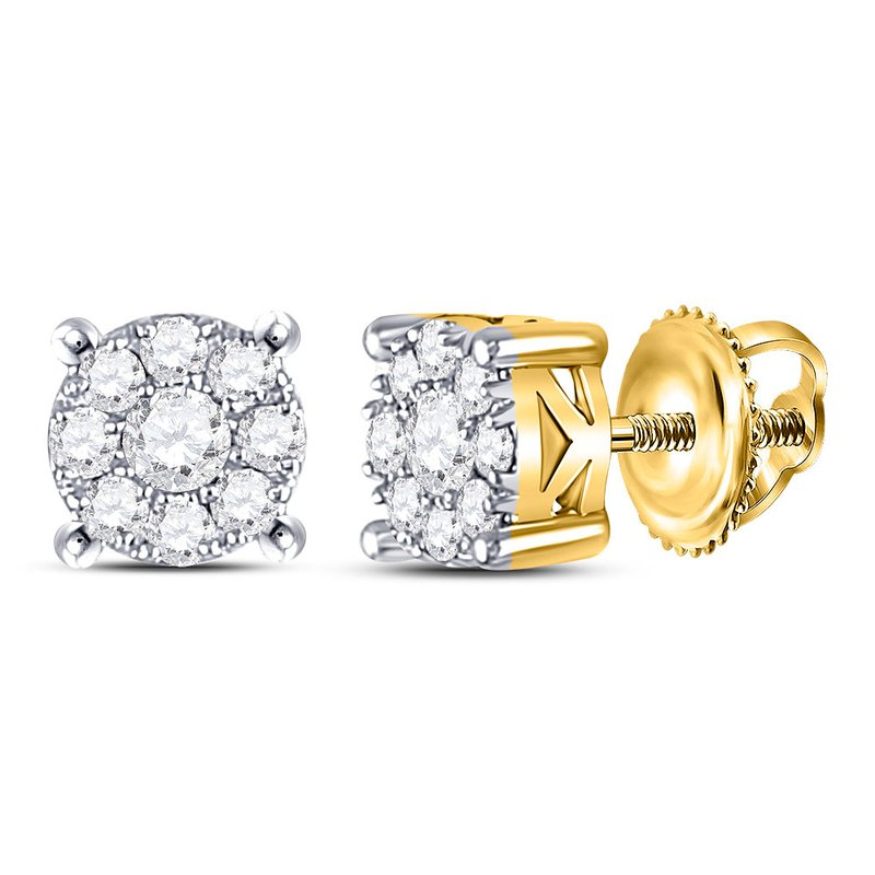 Gold-N-Diamonds 10kt White Gold Womens Round Diamond Cluster Solitaire Stud Earrings 1/2 Cttw