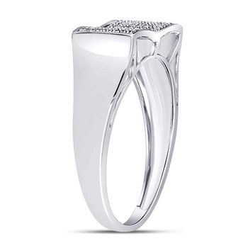 Sterling Silver Mens Round Diamond Cluster Fashion Band Ring 1/4 Cttw