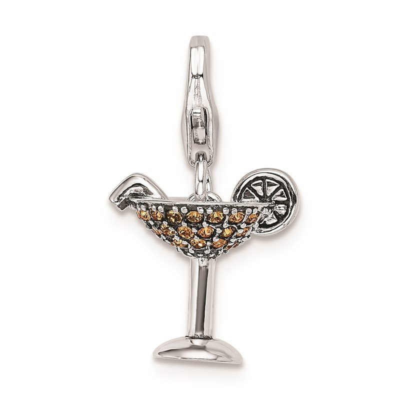 J.F. Kruse Signature Collection Sterling Silver RH Yellow Swarovski Martini Glass w/Lobster Clasp Charm