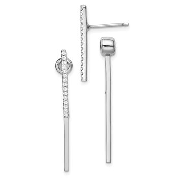 Sterling Silver Rhodium-plated CZ Bar Front and Back Post Earrings
