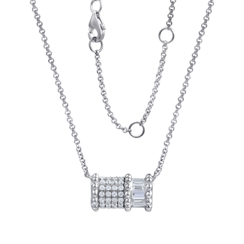 "14K rectangular shape necklace with 36 round diamonds 0.13ct & 6 baguette diamonds 0.20ct 18"" chain"